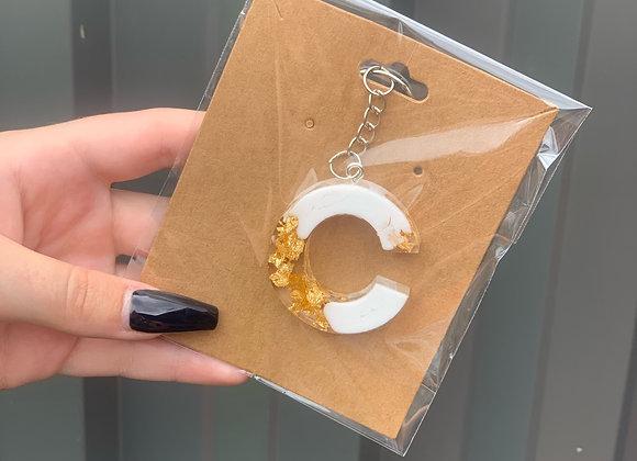 Resin letter key ring