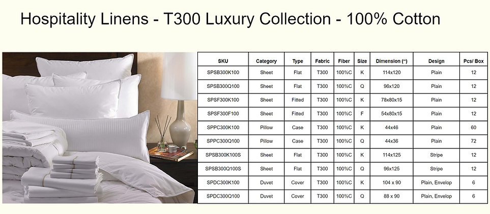 Hospitality Linens - T300 Luxury Collect