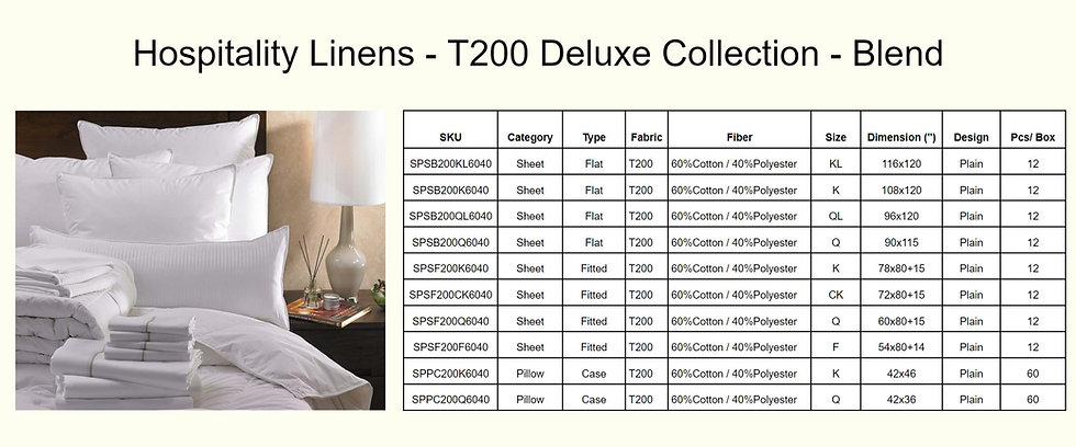 Hospitality Linens - T200 Deluxe Collect