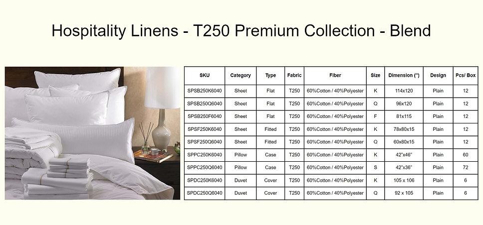 Hospitality Linens - T250 Premium Collec