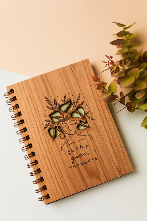 Plant Good Thoughts Wood Journal