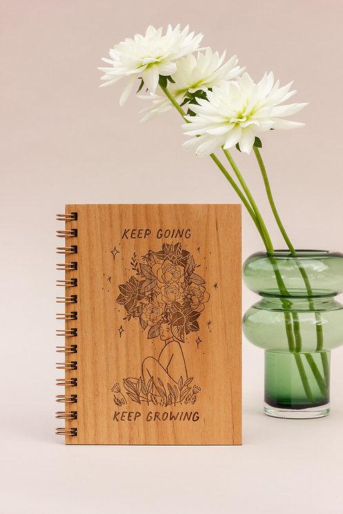 Keep Going Keep Growing Wood Journal