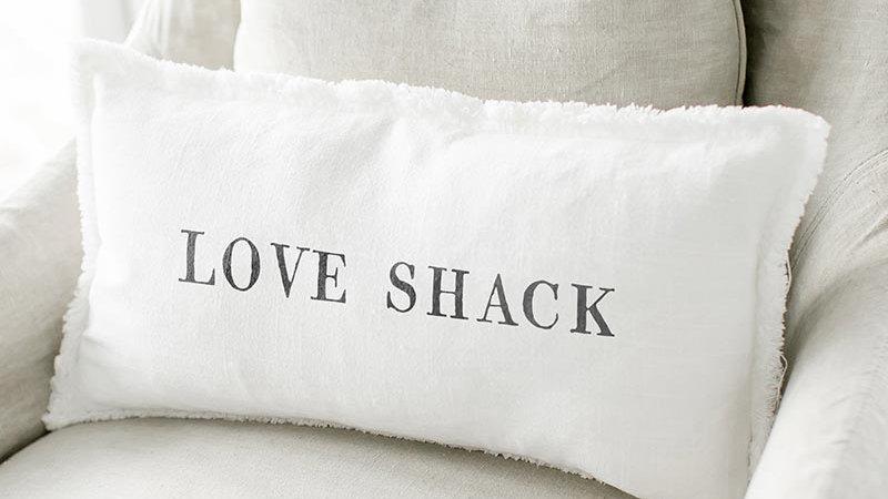 Lumbar Pillow - Love Shack With Duck Feather Insert