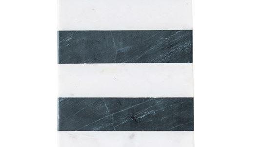 "16""L x 6""W Marble Board w/ Leather Tie, Black & White Stripe"
