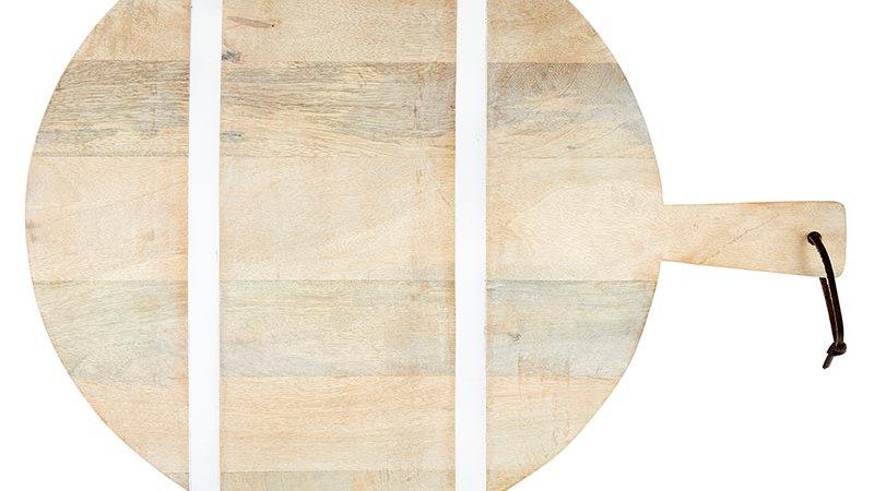 Natural +  White Stripe Cutting Board - Round