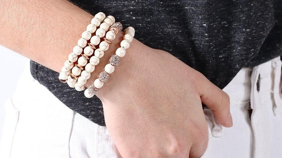 Stacked White Turquoise Bracelets