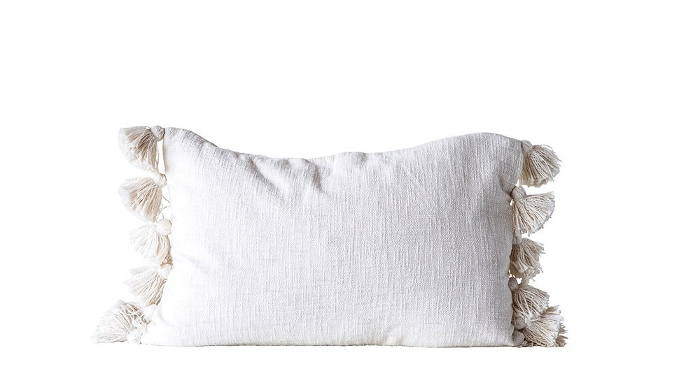 "24""L x 16""H Cotton Woven Slub Pillow w/ Tassels, Cream"