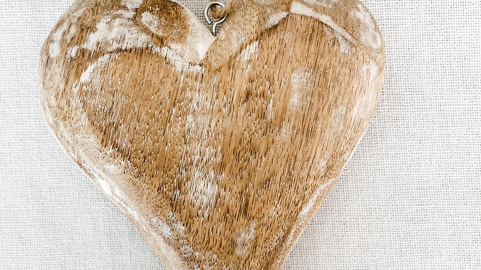"""Wooden Heart - white wash  7"""" x 5.5"""" x 1"""""""