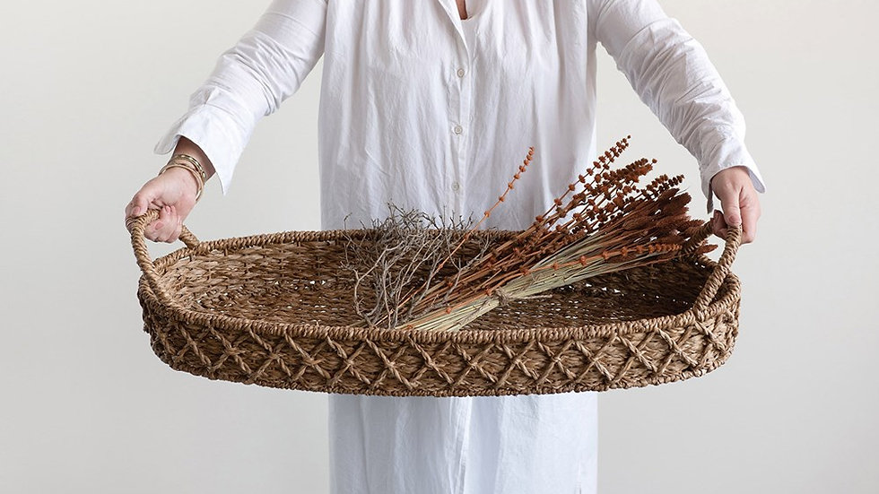 Decorative Woven Seagrass Oval Tray w/ Handles