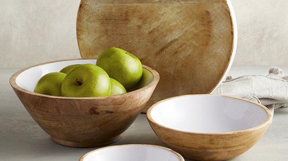 Large Wood Bowl with White Enamel