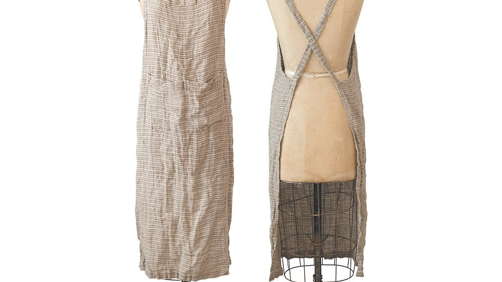 """38""""L x 28""""W Woven Linen Striped Apron, Brown"""