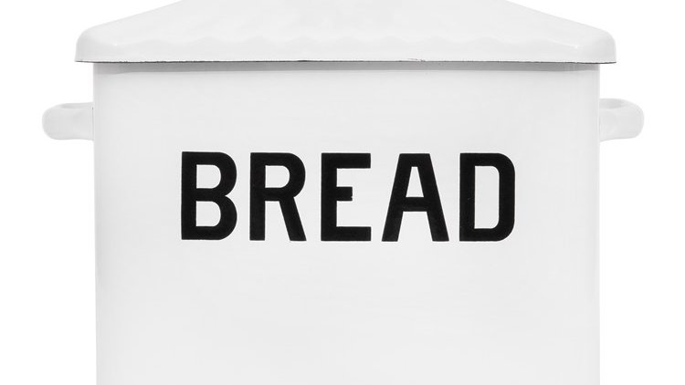 "Enameled Box ""Bread"" w/ Lid, Distressed White"
