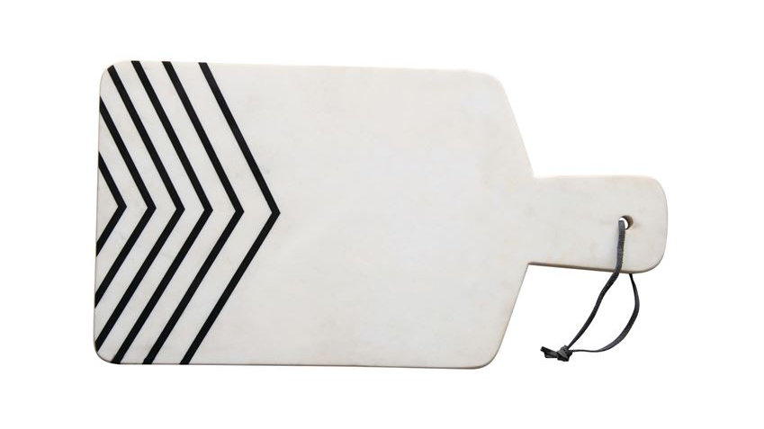Marble Cheese/Cutting Board with Rope Tie, White with Black Chevron