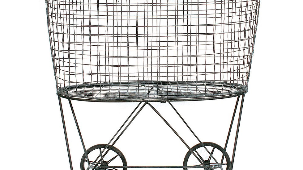Metal Reproduction of Vintage Laundry Basket On Wheels
