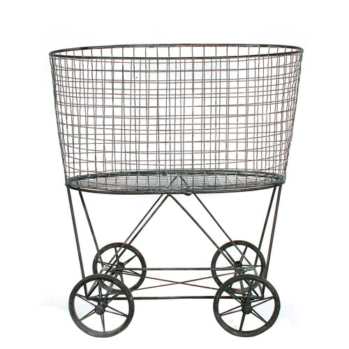 Shop Metal Reproduction of Vintage Laundry Basket On Wheels | Jen Bryant Design from JBD Decor on Openhaus