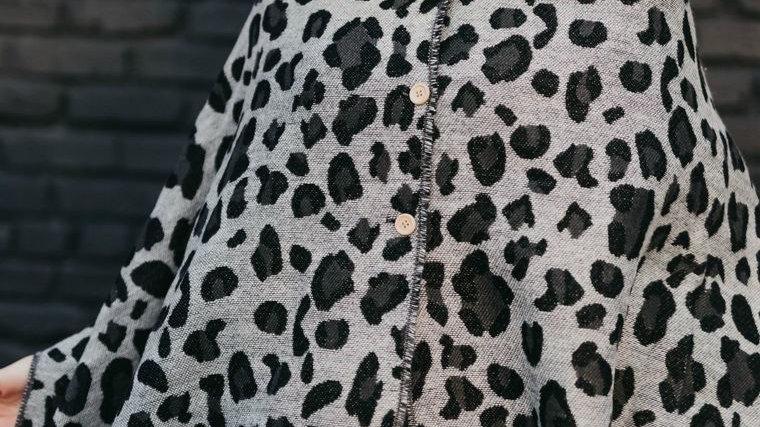 Grey Leopard Button Scarf