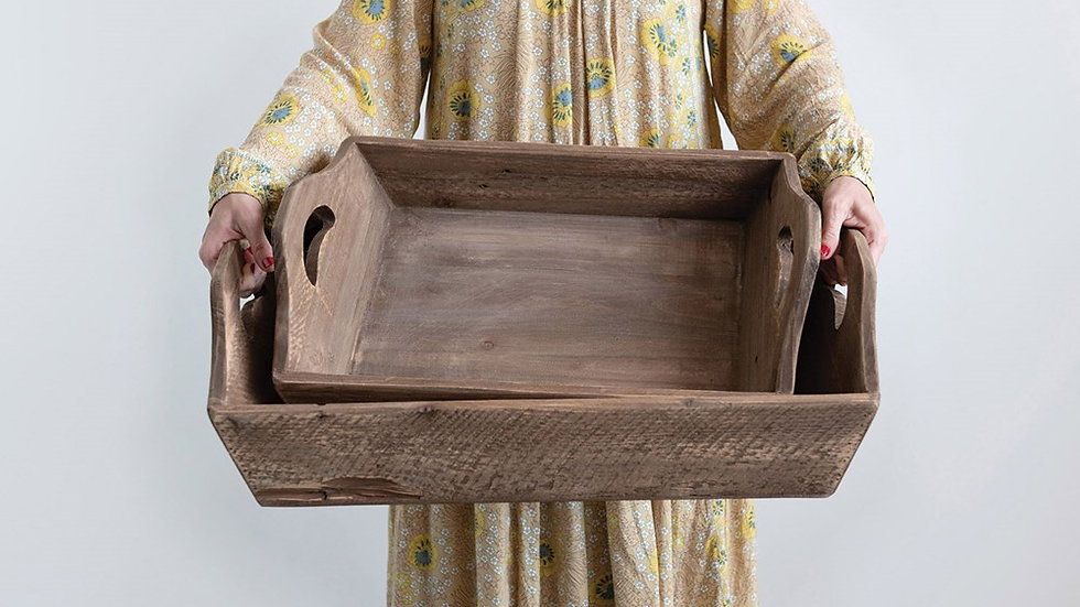 Decorative Wood Trays w/ Handles Set of 2