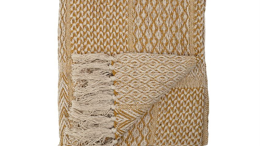 Recycled Cotton Blend Knit Throw w/ Fringe, Yellow Pattern