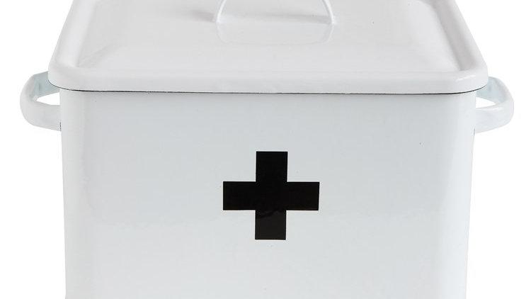 "13-1/2""L Enameled First Aid Box w/ Lid"