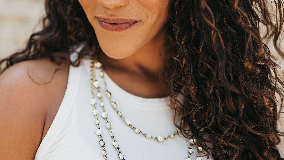 Three Tier Crystal Necklace - Silver