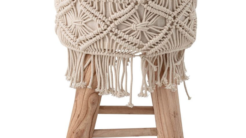 """12"""" Round x 16""""H Mango Wood Stool with Hand-Woven Cotton Macrame, Natural"""