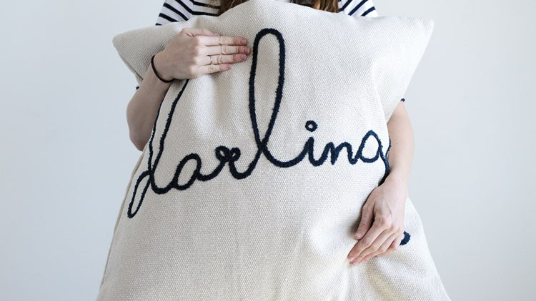 """26"""" Square Cotton Pillow w/ Embroidered """"Darling"""""""