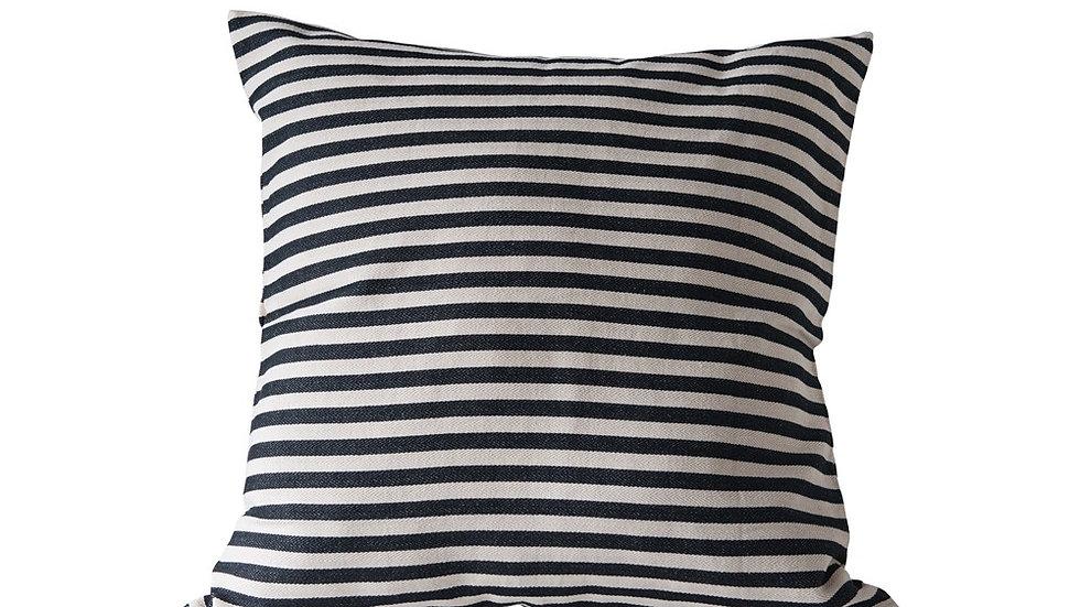 "26"" Square Cotton Woven Striped Pillow, Black"