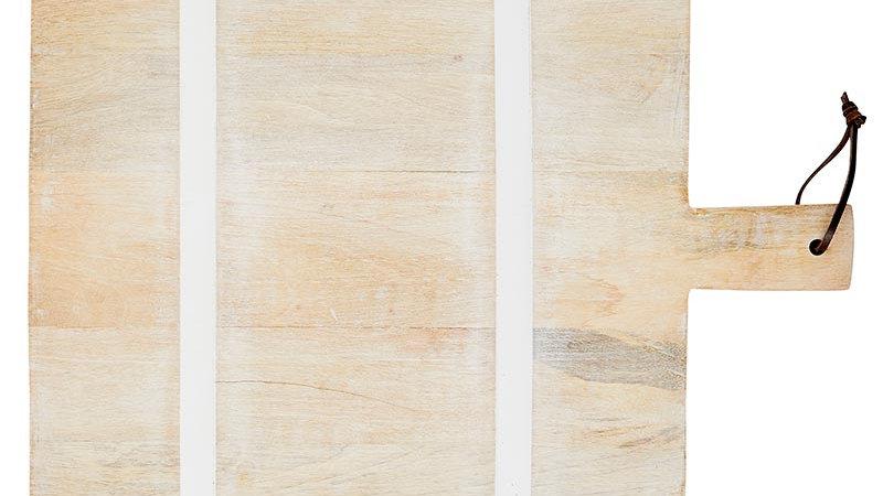 Natural +  White Stripe Cutting Board - Square
