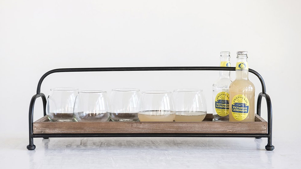 Decorative Wood Tray with Metal Stand