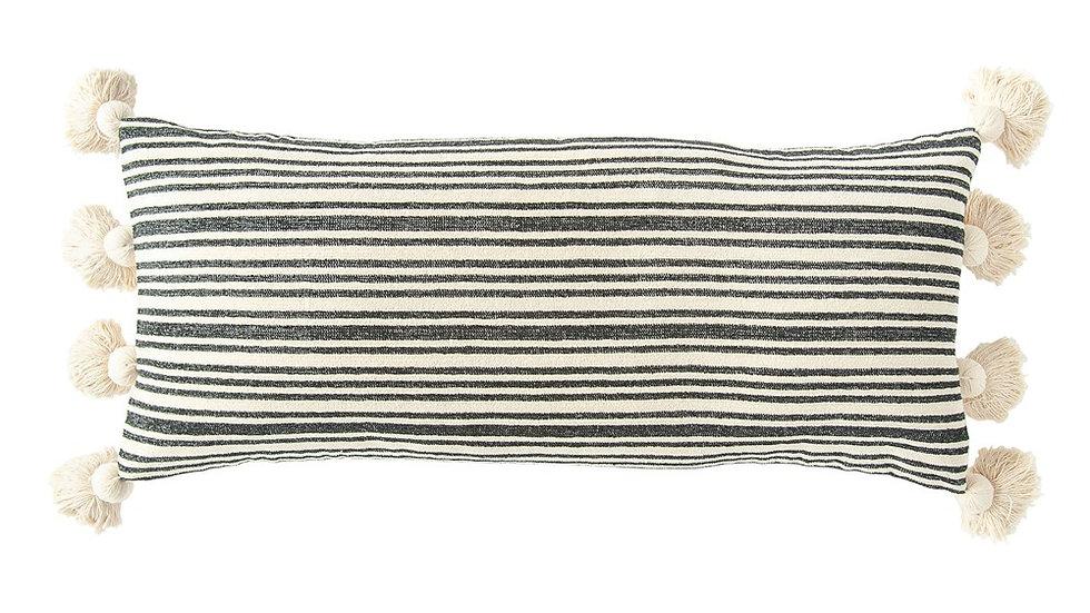 "36""L x 16""H Cotton & Chenille Woven Striped Lumbar Pillow w/ Tassels, Black"