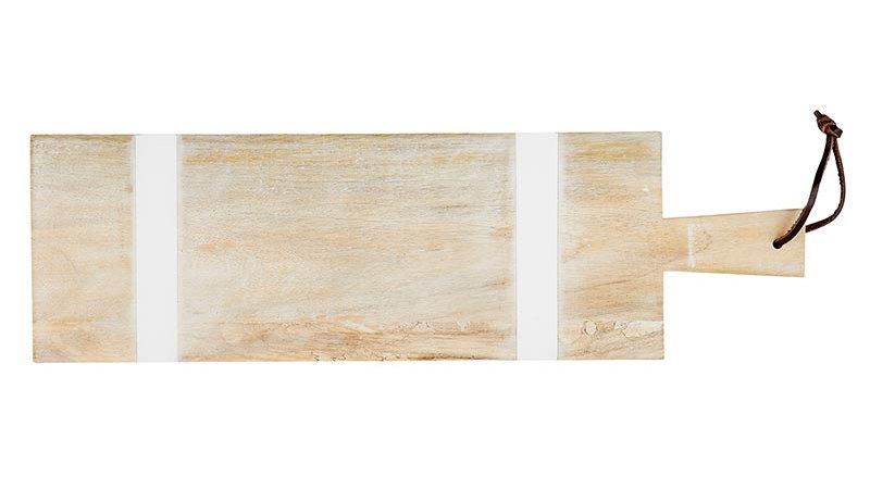 Natural +  White Stripe Cutting Board - Rectangle