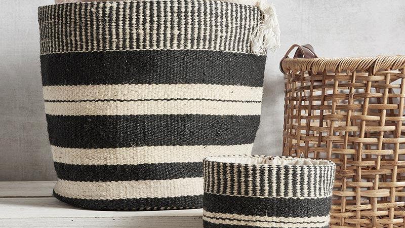 MINI Jute Bag - Black and Ivory 6x6
