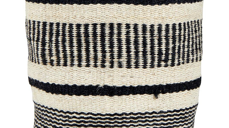 Medium Jute Bag - Black and Ivory 8x8