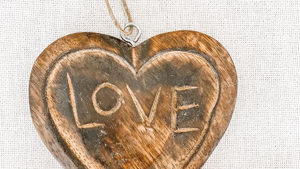 LOVE Carved Wood Heart dark brown