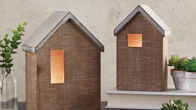 Decorative Wooden Houses - Set of 2  LED