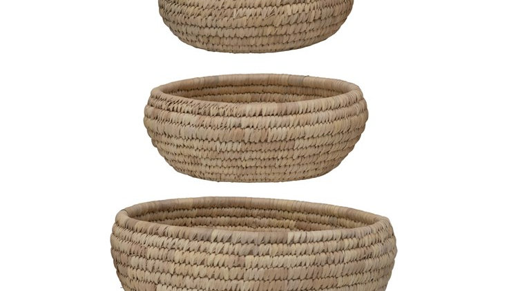 Grass & Date Leaf Baskets, Set of 3