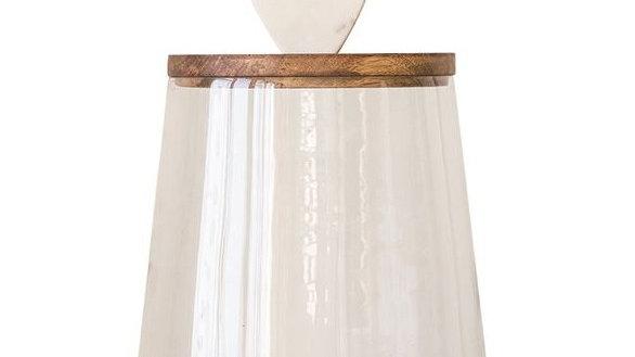 "9"" Round x 15""H Glass Jar w/ Mango Wood & Marble Lid"