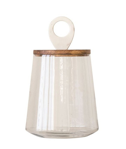 """Shop 9"""" Round x 15""""H Glass Jar w/ Mango Wood & Marble Lid from JBD Decor on Openhaus"""