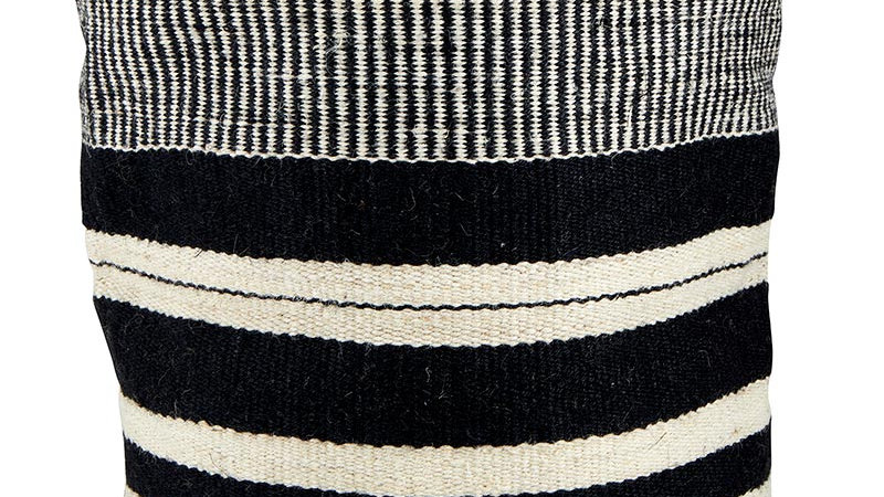 Jute Bag - Black and Ivory 12x12