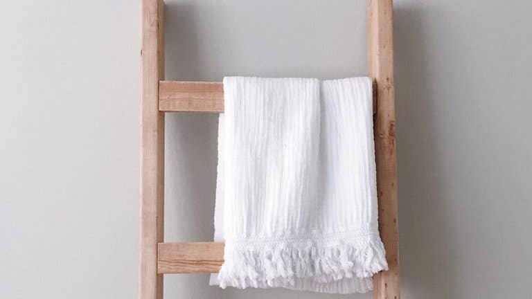 Organic Cotton Muslin XL Throw Blanket - White Fringe