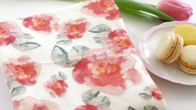 Pink Flowers Tea Towel