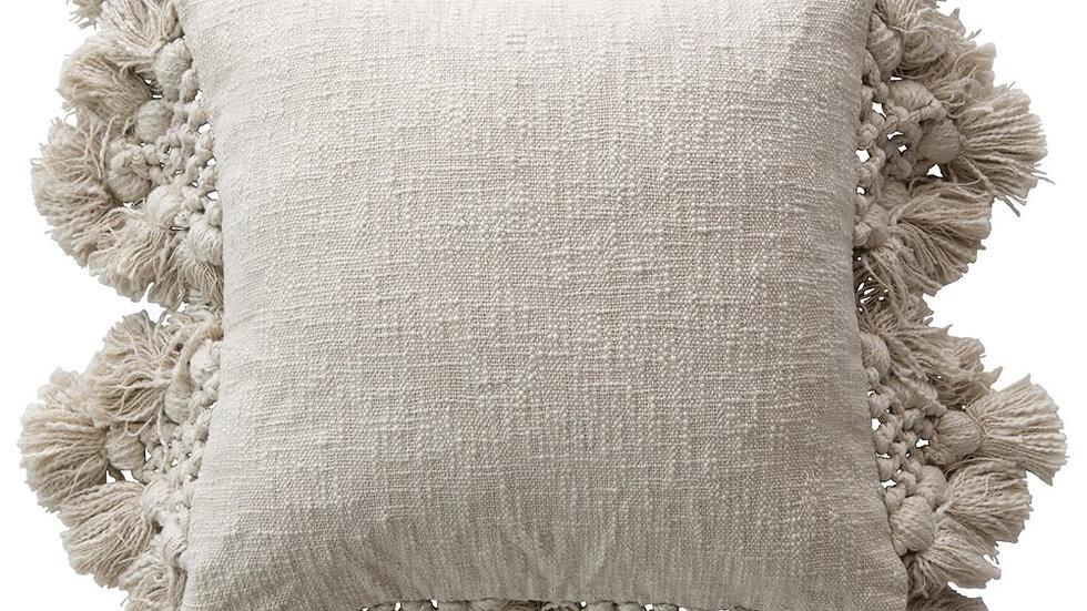 "18"" Square Cotton Slub Pillow with Crochet & Tassels, Grey"