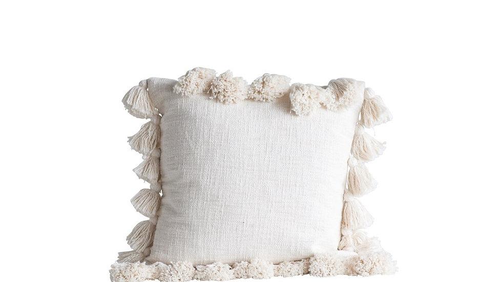 "18"" Square Cotton Pillow w/ Tassels, Cream"