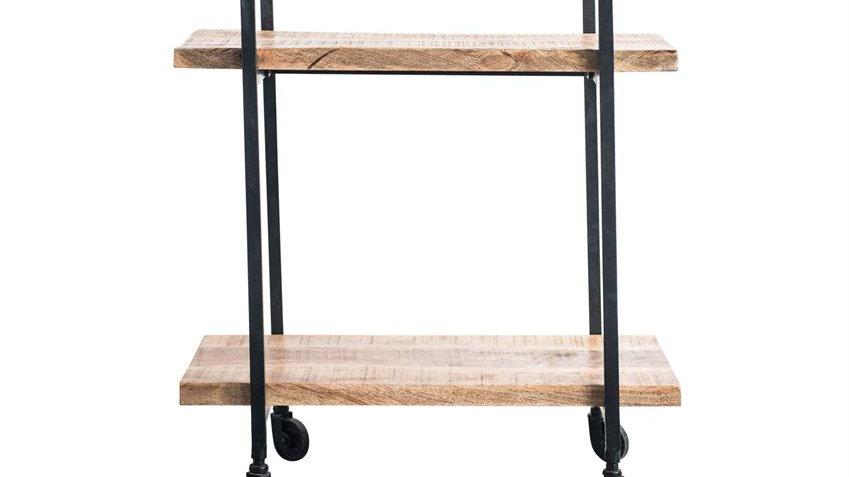 Metal & Mango Wood 2-Tier Cart on Casters