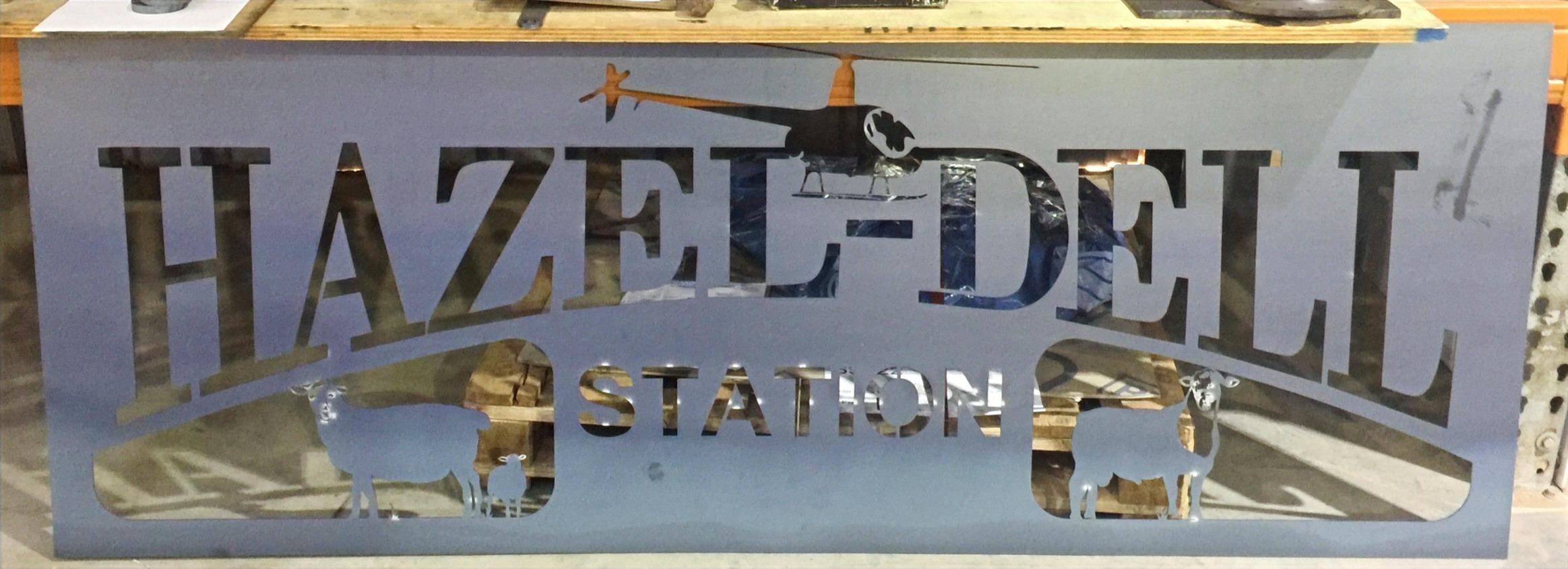 Hazel Dell Station Sign Mild Steel