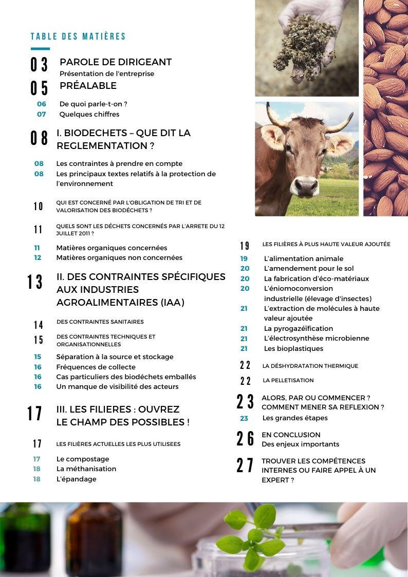 Table des matières Livre Blanc Biodéchets