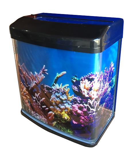 NEON 28L Small Curved Glass Fish Tank Aquarium w/ Filter, Pump & LED Light
