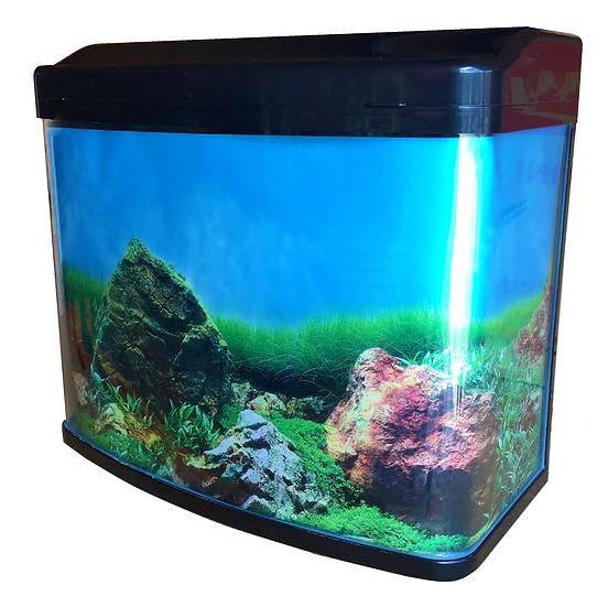 NEON 65L Curved Glass Fish Tank Aquarium w/ Pump, Top Filter & LED Light