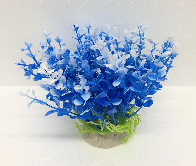 Small Blue & White Plastic Plant (12cm)
