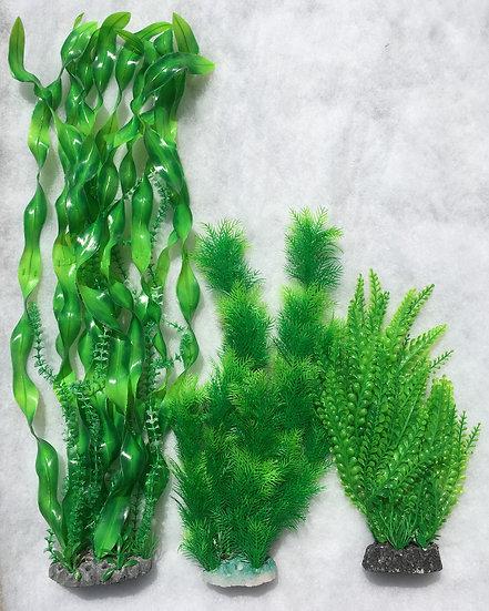 Large Plastic Plant Fern Set of Three (3) Aquarium Ornaments